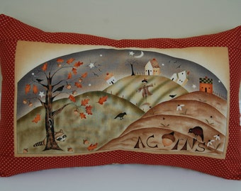 Harvest Town Pillow, Primitive, Fall, Thanksgiving, Acorns