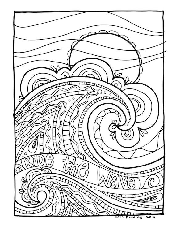 Printable ocean wave coloring pages ~ KPM Doodles Coloring page Wave