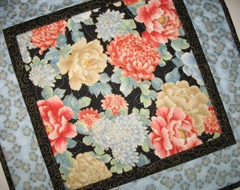 Elegant Table Topper, Asian Floral, Wall Hanging, quilted, metallic gold, fabric from Red Rooster