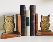 Vintage Wood & Metal Owl Bookends