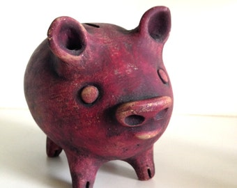 Vintage Red Clay Piggy Bank