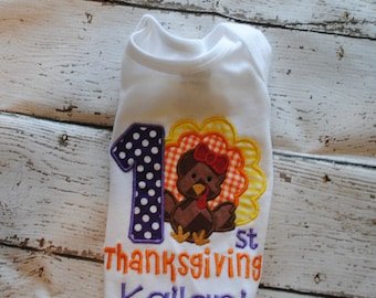 1st Thanksgiving with Turkey Embroidered Personalized Shirt or Bodysuit