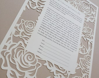 Rose Garden Laser Cut Ketubah - Custom Printed with Your Wording.