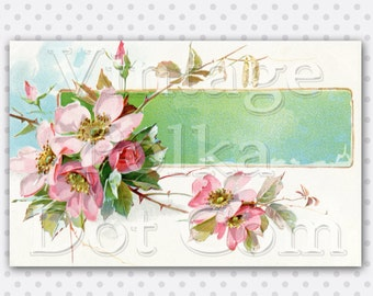 Wild Rose Clip Art Vintage Watercolors Printable Victorian Banner Old Card Graphic Digital Art Scrapbook Pink Blossom Rose Lovely