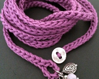 Crochet wrap bracelet with charms, orchid, cuff bracelet, bohemian jewelry, cotton bracelet, crochet jewelry, fall fashion, coffycrochet