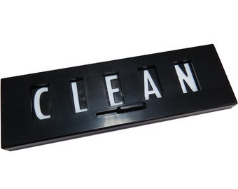 Clean Dirty Dishwasher Magnet Sign, Black, Plastic, version 2.0