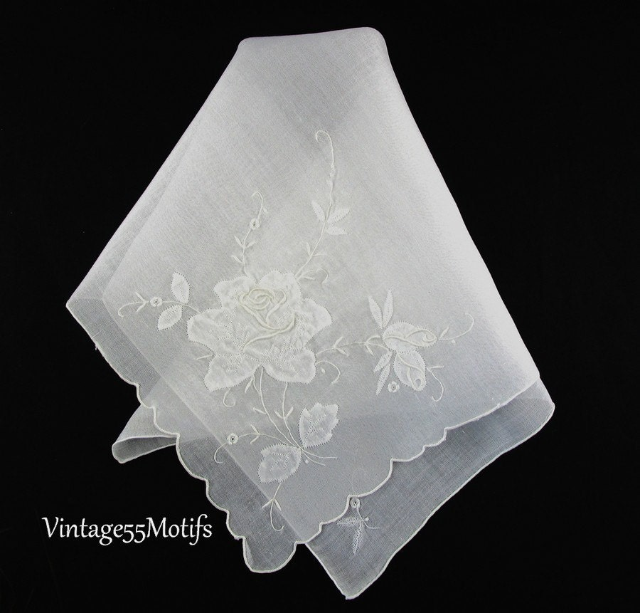 Vintage handkerchief white rose applique embroidered large