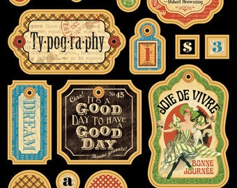 Graphic 45 Typography Chipboard Tags 1