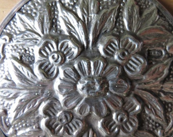 Pretty Floral Pattern STERLING SILVER Hand Mirror....