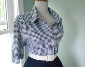 Vintage Western Style Cotton Navy Blue and White Gingham Plaid 1960s Button Down Short Sleeve Blouse