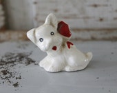 Vintage White Terrier FIgurine with Red Bow
