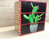 PAINTED DRAWER CABINET wooden colorful cactus sushi stars leopard print
