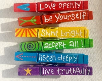 RAINBOW ADVICE CLOTHESPINS gay pride magnetic hand painted lgbt