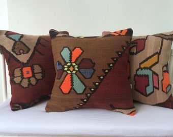 Handwoven Turkish Rug Pillow Cover, Decorative Pillows, Accent Pillow, Throw Pillow, Kilim Pillow Cover, Vintage Pillow, black, red pillow