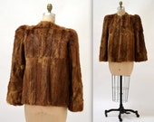 40s 50s Vintage Brown Fur Jacket Coat// 50s Vintage Fur Coat Jacket Size Medium large