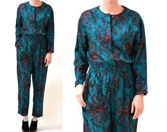 Vintage Diane Von Furstenberg Jumpsuit Size Medium Paisley Print// Paisley Floral Print Jumpsuit Medium By DVF