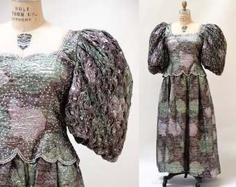 Vintage 80s Prom Dress Metallic Evening Gown Large XL Silver Brocade// Vintage 80s Silver Metallic Dress Dynasty Poof Sleeves Size Large XL