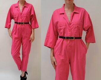 Vintage Diane Von Furstenberg Jumpsuit Size Medium Bright Pink Fuchsia // 80s Vintage Cotton Jumpsuit Pantsuit size Medium PINK By DVF
