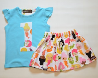 Mermaid First Birthday Outfit, Girls 1st Birthday Applique Shirt and Skirt Set, Size 18m, Ready to Ship, Under the Sea Party, Pink and Blue