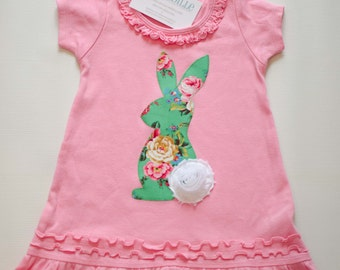 Size 3 Girls Easter Bunny Dress, Ready to Ship, Pink Bunny Dress, Applique Easter Dress Tunic, Rabbit  2T Dress 3T Tunic, Pink and Green