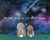The Best Things in Life Aren't Things Bunny Rabbit Woodland Kids Art Print Wall Nursery Decor Whimsical Storybook Artwork for Children