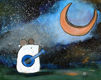 Original Kids Wall Art Whimsical Painting Mouse and Moon Kids Room Decor Childrens Wall Art Nursery Art 8x10 Small Artwork