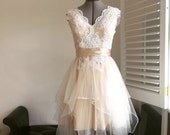 Donna-Perfect Fall Garden wedding dress-lace and tulle short wedding dress-made to order-champagne and ivory