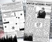 Winter Wedding Program - Mini Newspaper Style - Wedding Program - Newspaper Wedding Program