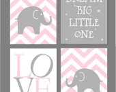 "Pink and Grey Nursery Baby Girl Nursery Pink and Gray Dream Big Little One Elephant Nursery Art for Nursery Chevron 8""x10"" Prints"