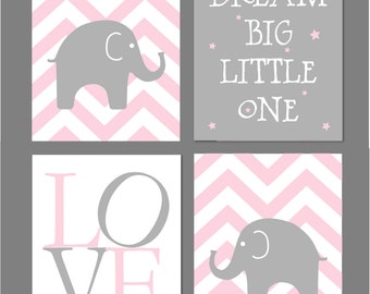 Pink Nursery Decor, Pink Nursery Art, Pink and Grey Nursery, Elephant Nursery Art, Dream Big Little One, Chevron Nursery, 8x10s Any Colors
