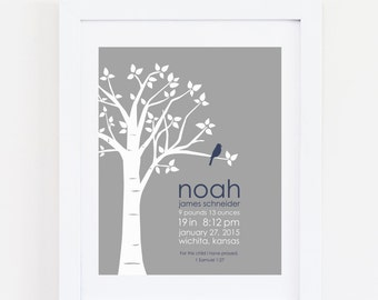 """Birth Stats Wall Art Birth Announcement Print New Baby Gift  Baby Birthdate Print Navy and Gray Nursery Baby Boy Gift ANY COLORS 8""""x10"""""""