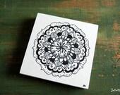 "Original Mandala Art, Mandla Illustration, Mandala Block, 4""x4"" spiritual art, meditation art, Pen & Ink, Black, white, ""Blossom Mandala"""
