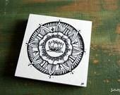 "Original Mandala Art, Mandla Illustration, Mandala Block, 4""x4"" spiritual art, meditation art, Pen & Ink, Black, white, ""Lotus Mandala"""
