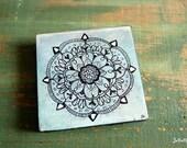 """Original Mandala Art, Mandala Painting, Mandala Block, 4""""x4"""" spiritual art, meditation art, Blue, Aqua, Turquoise, Black """"Peace Mandala"""""""