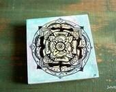 """Original Mandala Art, Mandala Painting, Mandala Block, 4""""x4"""" spiritual art, meditation art, spiritual art Blue Green Aqua """"Grounded Mandala"""""""