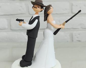 Custom Wedding Cake Topper  - Detective couple -