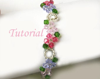 Beading Tutorial Pattern - Beaded Floral Concerto Flower Bracelet Pattern Wavy Design Pattern PDF Downloadable Tutorial Beading Pattern