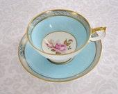 Aynsley Tea Cup and Saucer Aqua Blue /  Antique Vintage China Teacup Set Sky Blue  /  Teacup and Saucer Set   SwirlingOrange11