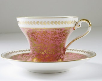 Vintage Aynsley Pink Gold Chintz Tea Cup and Saucer,  Pink Aynsley Bone China Teacup and Saucer, Pink Chintz Cup and Saucer SwirlingOrange11