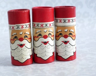 Vintage Wood Santa Claus Matches, Kitsch Stocking Stuffer Santa Matches, Holiday Christmas Xmas Candle Decor