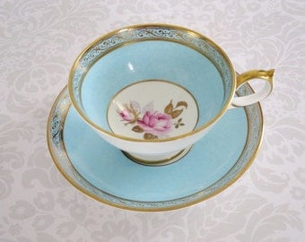 Vintage Aynsley Fine Bone China Tea Cup and Saucer, Aqua Rose Motif, Gold Gilt, England SwirlingOrange11