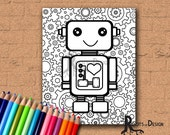 INSTANT DOWNLOAD Coloring Page - Robot with gears, doodle art, gamer printable