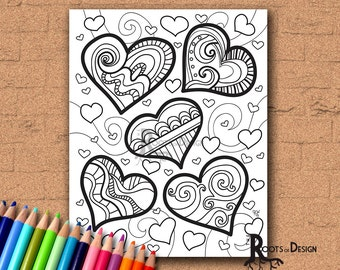 INSTANT DOWNLOAD Coloring Page - Lots of Zendoodle Hearts Coloring Print, doodle art, printable