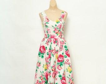 Vintage 80s Dress / Sleeveless Dress / 90s Dress / Dress / Day  Dress /  vintage /  90s dress / Dress Floral / 1980s / 1980s dress / 1990s