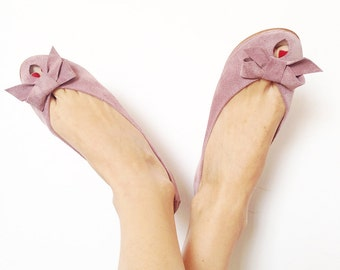 Ballet Flats Shoes Handmade Old Pink Leather Peep Toe with Bow