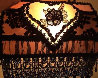 Victorian Bed Lamp Black Lace Cut Velvet Beaded Flower Applique Beaded Fringe Trim