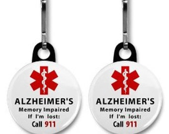ALZHEIMER'S Memory Impaired Call 911 Alert 2-Pack of Zipper Pull Charms (Choose Size and Color of Backing)