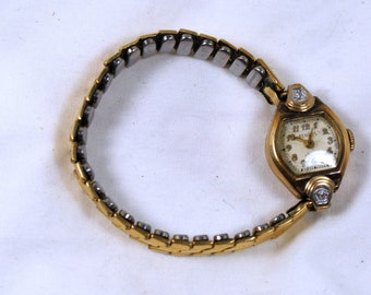 Benrus Ladies 10k gold filled watch with band for parts or repair