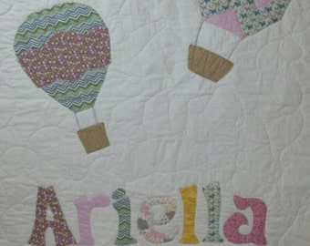 Personalized Quilt,  Baby Bedding, Hot Air Balloon, Crib Bedding, Baby Quilt, Toddler Bedding, Quilt, Boy or Girl