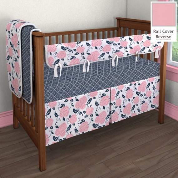 items similar to coral pink and navy baby crib bedding toddler bedding bed skirt fitted. Black Bedroom Furniture Sets. Home Design Ideas